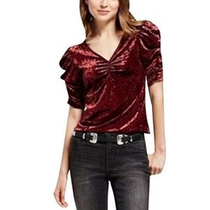 Women's Crushed Velvet Puff Sleeve Top - Red